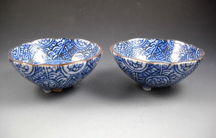"""This very lovely pair of blue and white decorated Japanese bowls are perfect for soy sauce, pickles, or any small condiments for your table. Original stickers say, """"Arita-Yaki"""" (means """"baked"""" in Arita) Baked means fired in the kiln. 
