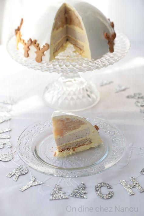 Dôme 18 cm ( biscuit financier noisettes 18 cm / mousse vanille / insert panna cotta noisettes 14 cm / insert pommes tatin /