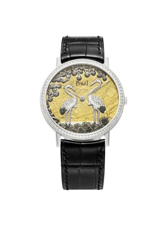 Piaget Altiplano watch in white gold case set with 78 brilliant-cut diamonds. The bracelet is in black alligator with a white gold ardillon buckle.