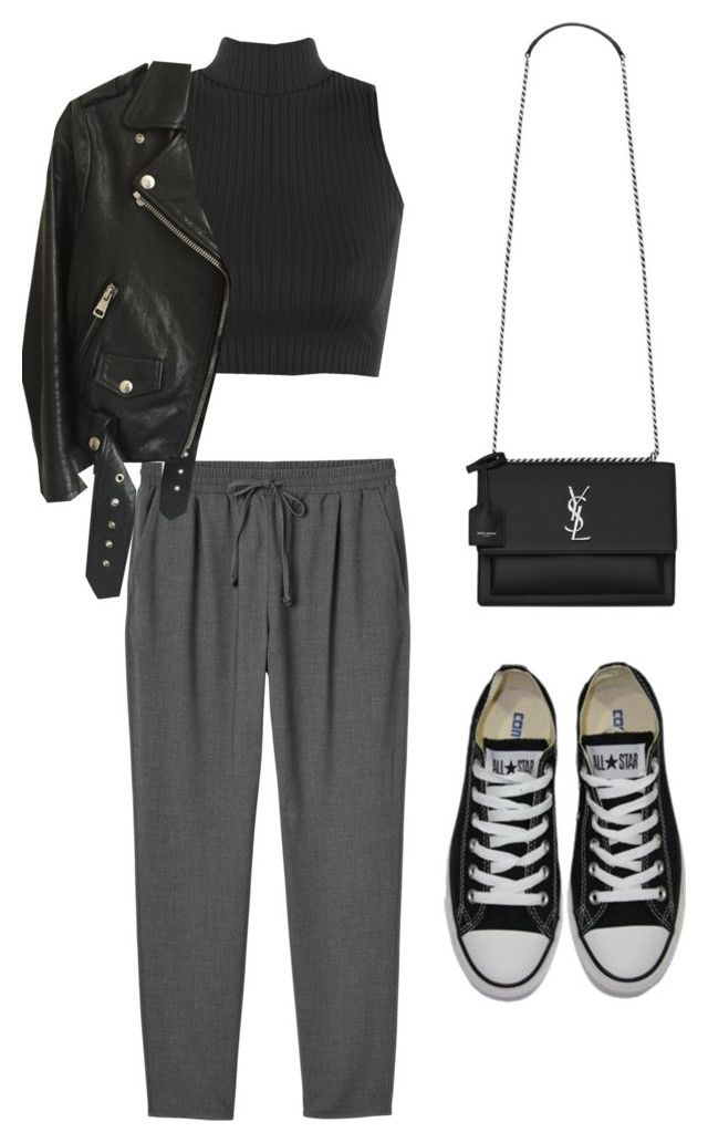 """""""Untitled #5289"""" by lilaclynn ❤ liked on Polyvore featuring Monki, WearAll, Acne Studios, Converse and Yves Saint Laurent"""