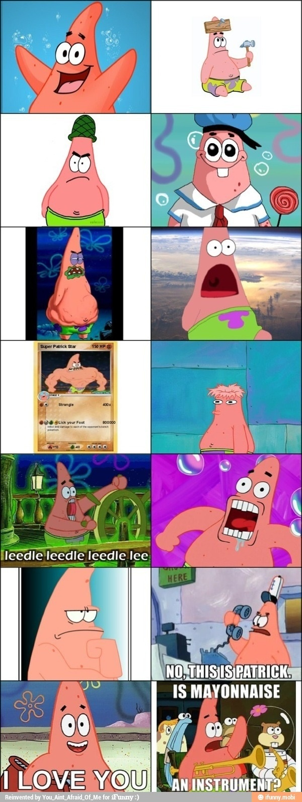 The many faces of Patrick Star.