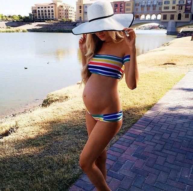 Perfect maternity style  fit body   rainbow bikini   @Terri Osborne McElwee Osborne McElwee Linzenmeyer Blonde