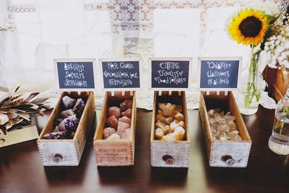 Love this idea of gemstones as wedding favours at a bohemian wedding! Photography by Sarah Loven on the Free People Blog