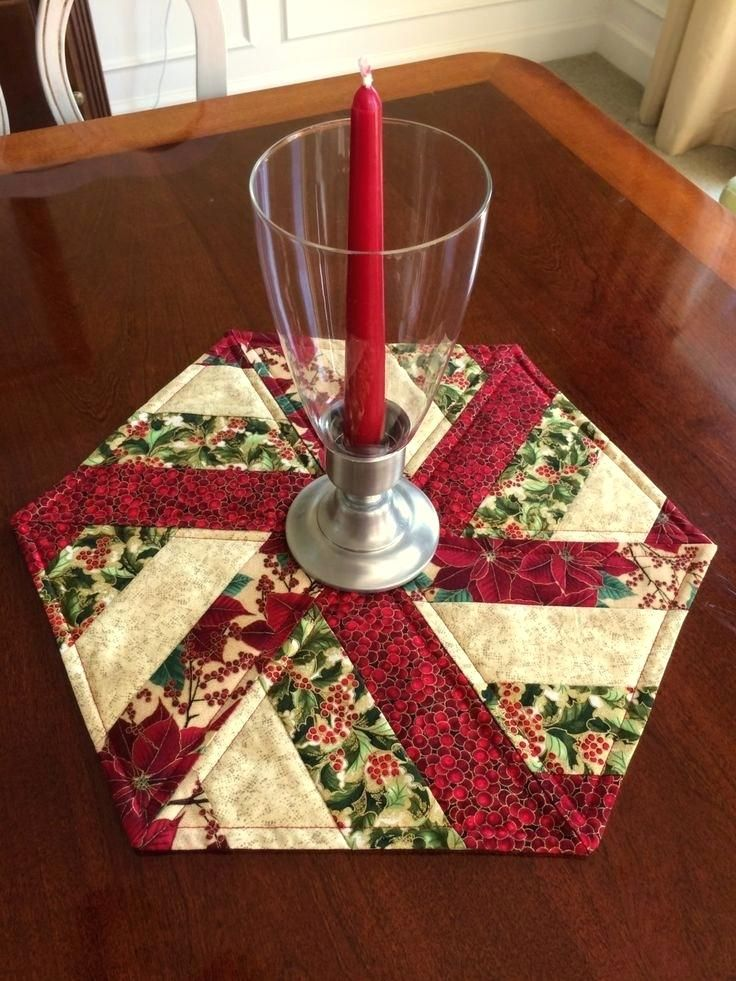 Round Table Topper Red Green Quilted Hexagon Table Runner