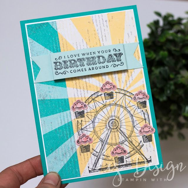 Stampin Up Carousel Birthday Card by Stampin with Liz Design #GDP082