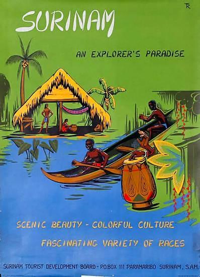 Surinam   Vintage travel poster of America
