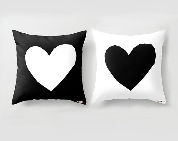 Two Decorative throw pillow cover - Couples Black and white pillow - Hearts - Anniversary Gifts - designer - Sofa Modern - pillows for couch on Etsy, $100.00