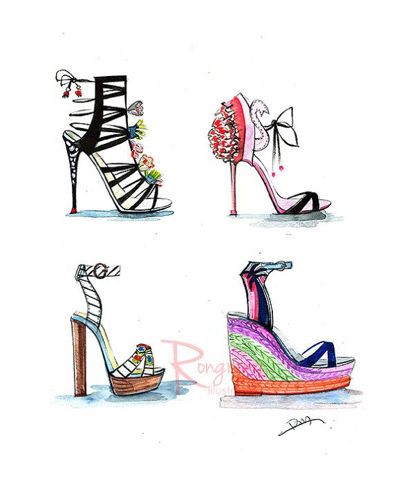 Shoe wall art ,Sophia webster shoes, Shoe art, fashion illustration, fashion art, Dressing room art,Chic wall decor, Gift for shoe lover by Houston fashion illustrator Rongrong DeVoe