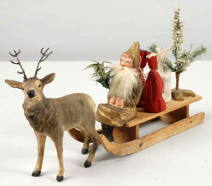 German Santa, Reindeer and Sleigh.  Repinned by www.mygrowingtraditions.com