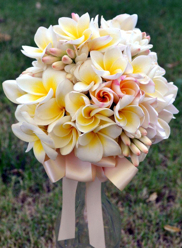 Bridal bouquet of Frangipani and tuberose.