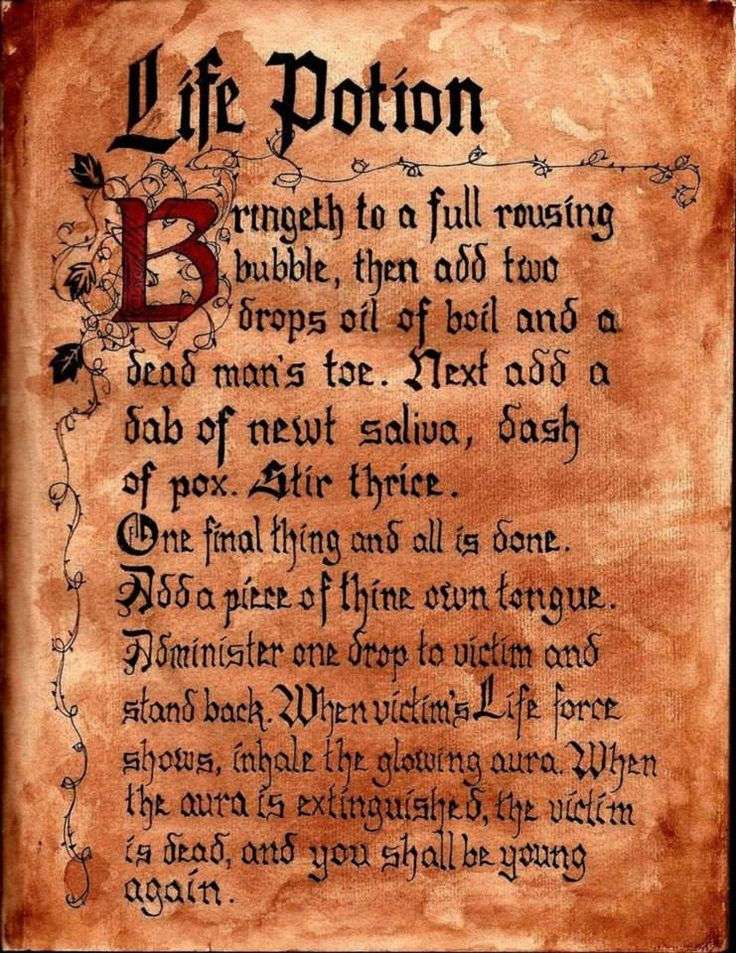Hocus Pocus Winifred Sanderson Spell Book incantation:  Life Potion. Hocus Pocus Halloween Party Decorating &  Ideas.