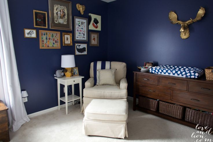 2014 #Nursery Trend: Navy is the new neutral.: Wall Colors, Boys Rooms, Navy Wall, Galleries Wall, Baby Boys, Gold Accent, Baby Rooms, Gold Nurseries, Baby Nurseries
