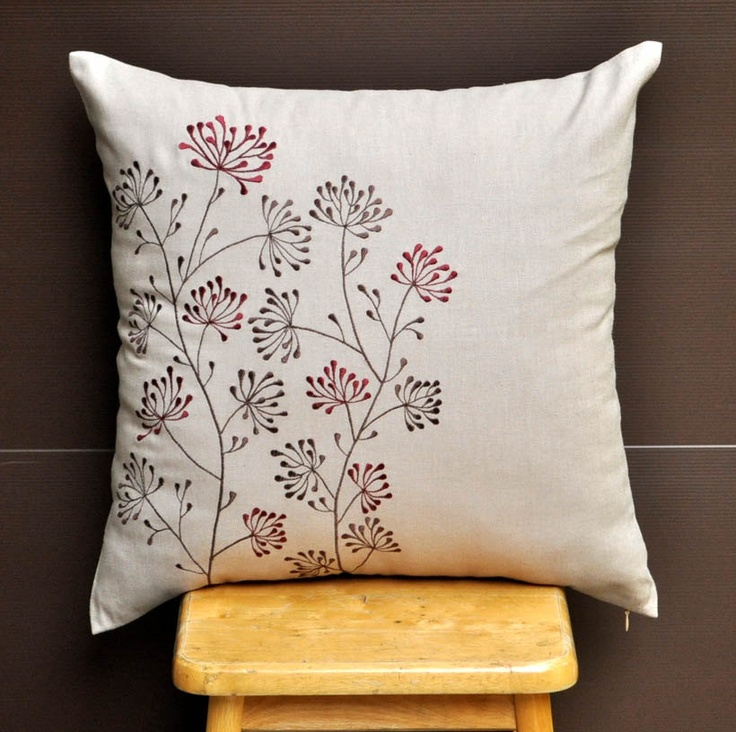 Red Ixora Throw Pillow Cover 18 x18, Embroidered Decorative Pillow, Red Brown Floral on Light ...