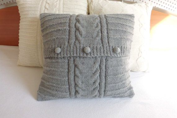 Charcoal hand knitted cushion cover gray cable by Adorablewares, $35.00