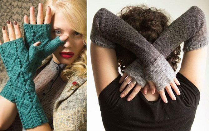 Новый аксессуар: длинные вязаные перчатки без пальцев