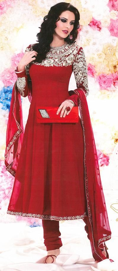 Red Faux Georgette Thread Work Anarkali Suit 26011