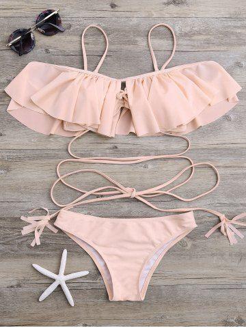 Lace-Up Ruffle Bikini Set