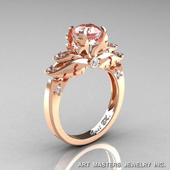 Classic Angel 14K Rose Gold 1.0 Ct Morganite Diamond Solitaire Engagement Ring R482-14KRGDMO on Etsy, $1,270.14 CAD
