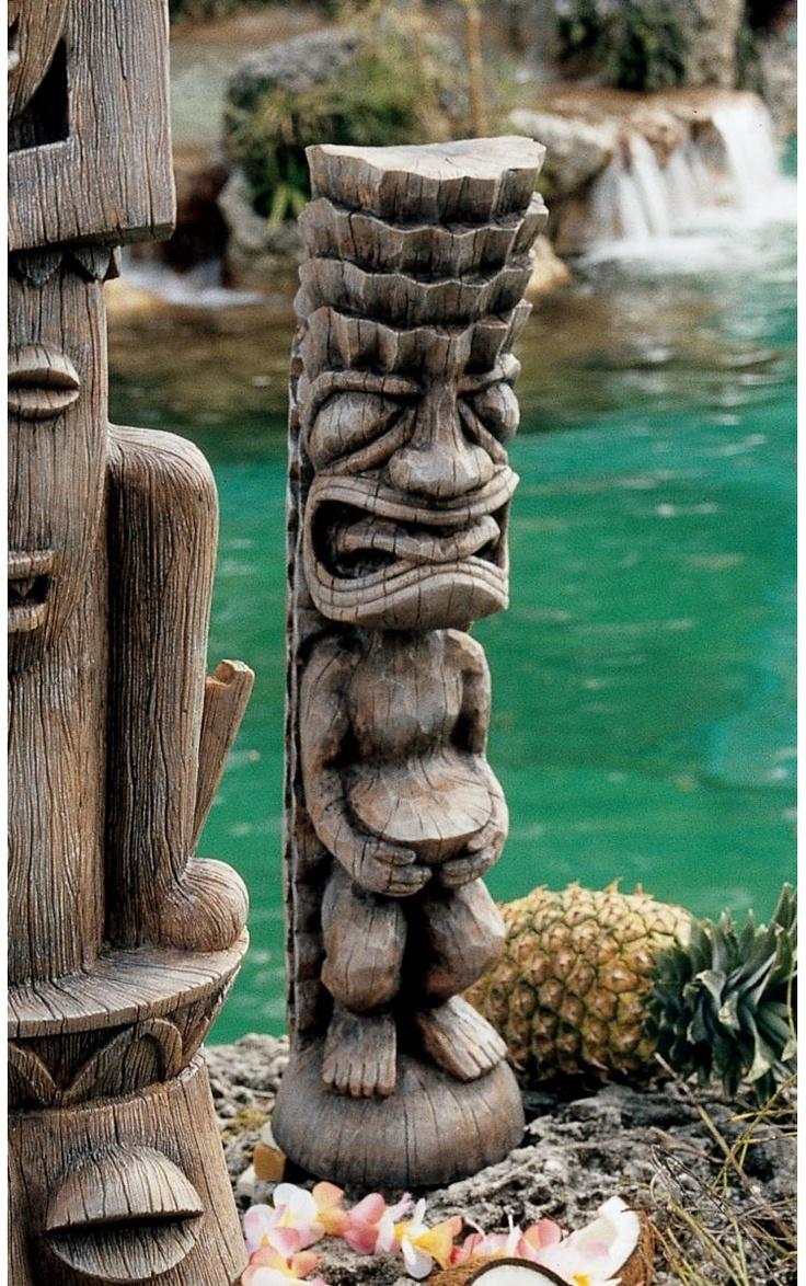 Small: Upscale Kitsch Polynesian Totem Primitive Tiki Garden Yard Pool  Statue