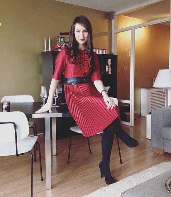 Red Valentine Dress Ruffle Pleated Dress 50s 60s  Vintage
