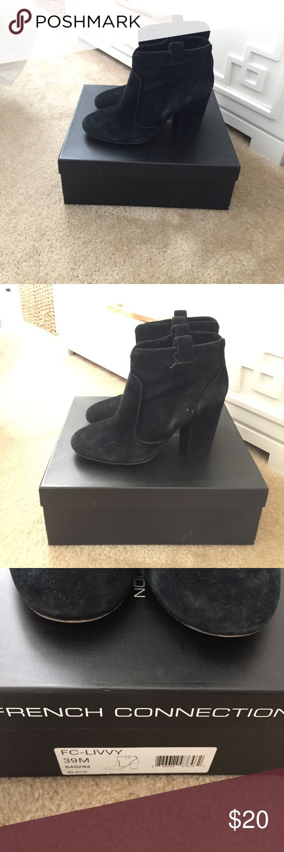 French connection booties Good condition. Very versatile. Black suede. French Connection Shoes Ankle Boots & Booties