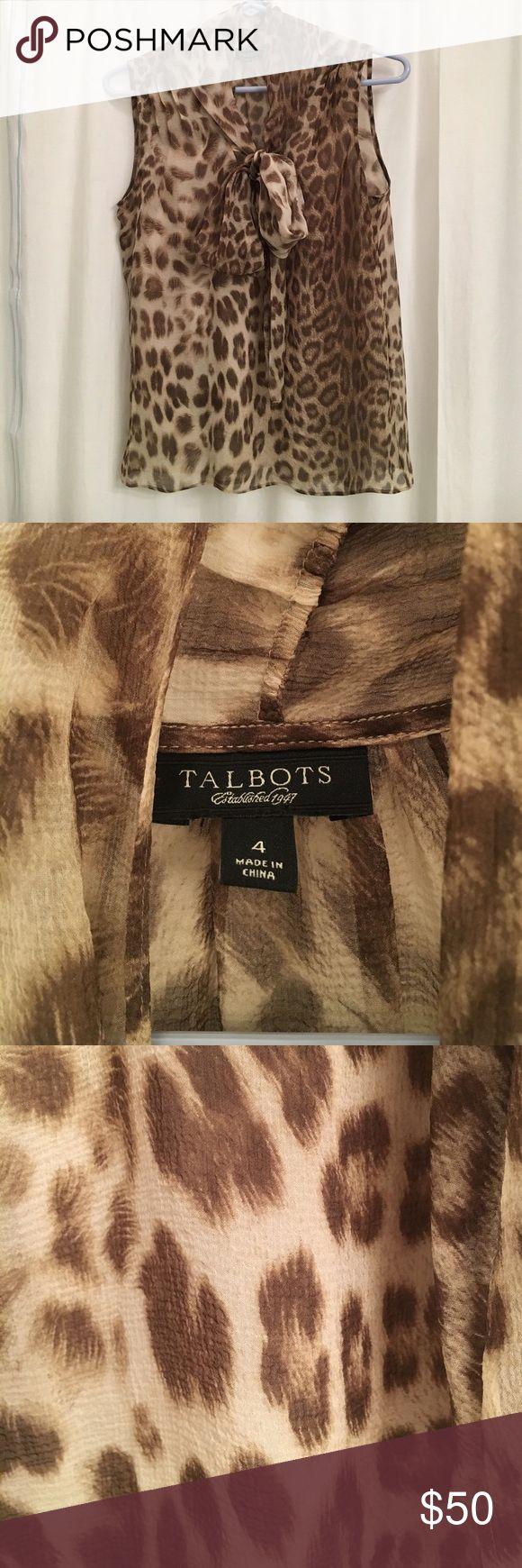 Selling this Sheer Silk Leopard Print Pussy Bow Top on Poshmark! My username is: katarina32. #shopmycloset #poshmark #fashion #shopping #style #forsale #Talbots #Tops