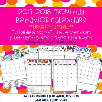 This download includes the 2017-2018 version of monthly behavior calendars. Each year the file will be updated at no additional charge to the buyer. Included are: -calendars from July 2017-July 2018 - both 5-day week and 7-day week options - both color