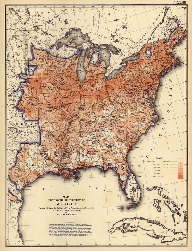 US Distribution of Wealth, 1870 - pretty well explains things as far as the effect plantation had on things: enormous wealth disparity.
