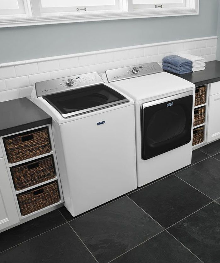 The Maytag extra-large capacity washer and dryer handle giant loads without taking up giant amounts of space but won't last past the warranty- that's the new American way.