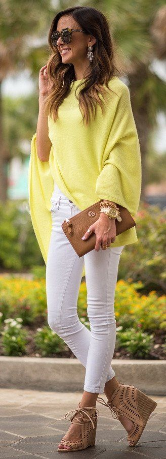 #spring #outfits Yellow Bell Sleeve Knit + White Skinny Jeans + Camel Leather Clutch