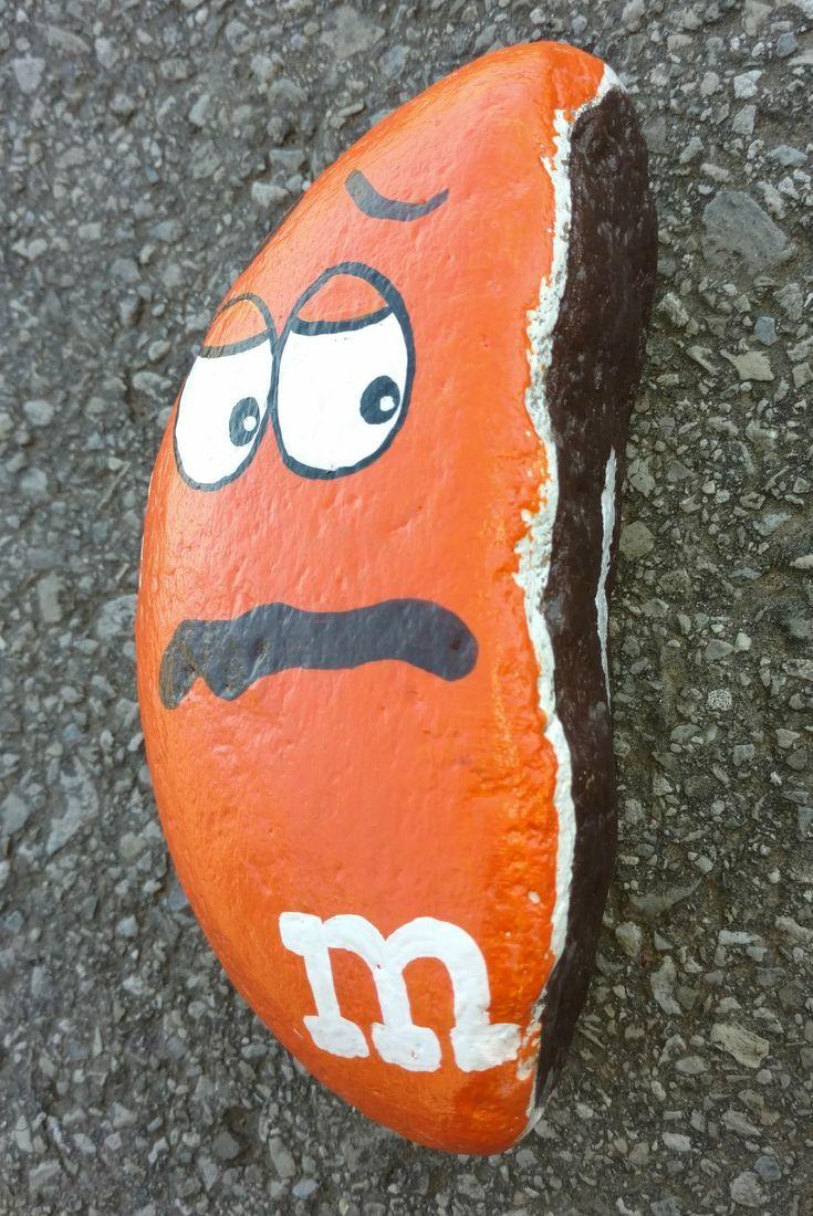 Broken m & m rock painting