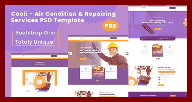 Ac Air Condition Air Conditioning Bootstrap Cooling Envato Free Nulled Theme Handyman Heat Heating Home Repair Html5 Hvac Installatio In 2020 Psd
