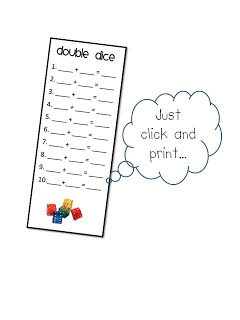 FREE~Math Workstation Printable for K, 1, 2 using double dice. The PINK Pineapple