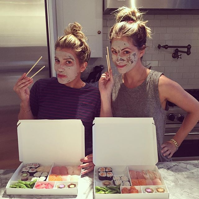 We are eating just in case we get hungry later! #sushi #facial