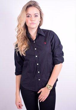 Ralph Lauren Womens Vintage Shirt Size 12 Black 90's