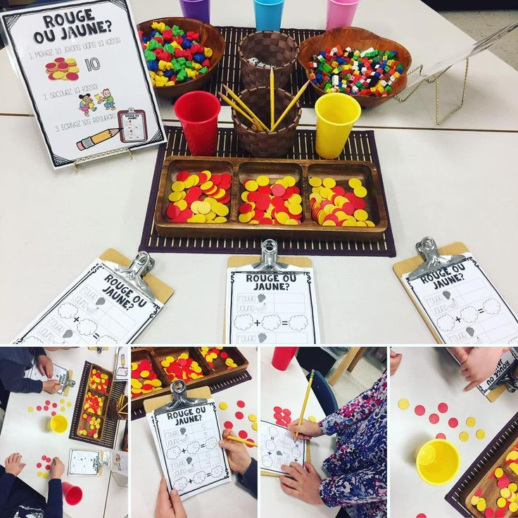 "40 Likes, 3 Comments - Laura King (@kindergartenteachertired) on Instagram: ""Rouge ou jaune? We are beginning to practice simple addition through play! In this game, students…"""