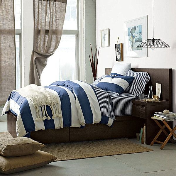 5 Ways to Bring Summer Style Home love this for my bedroom. (Blue and white stripes)