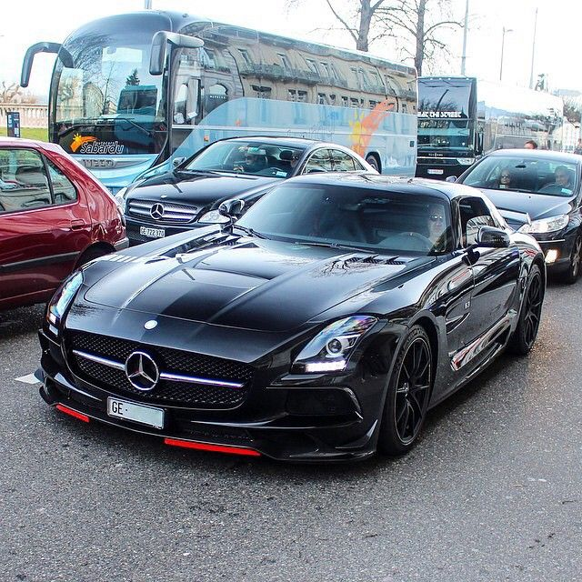"""Devious SLS Black Series : @intercars   @fastlane.photography   @cars_in_zurich…"