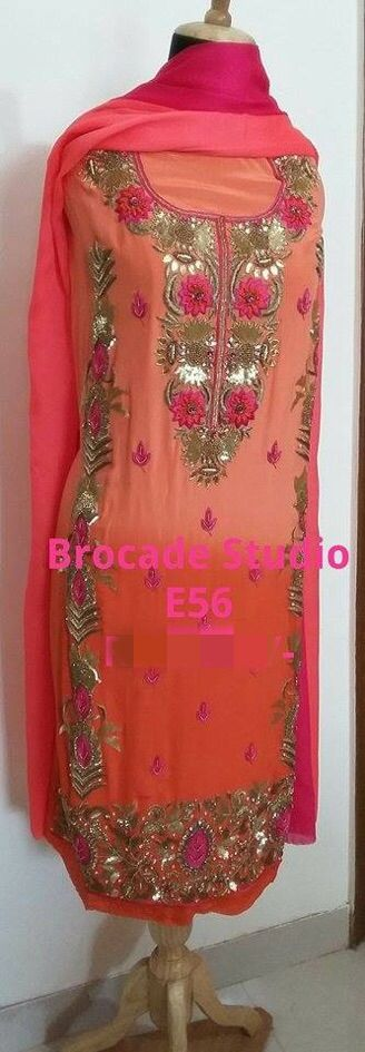 Elegant hand embroidered shaded suit www.facebook.com/brocadestudio