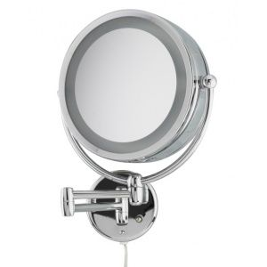 Wall mounted revolving vanity mirror in a powerful 10x magnificatio...
