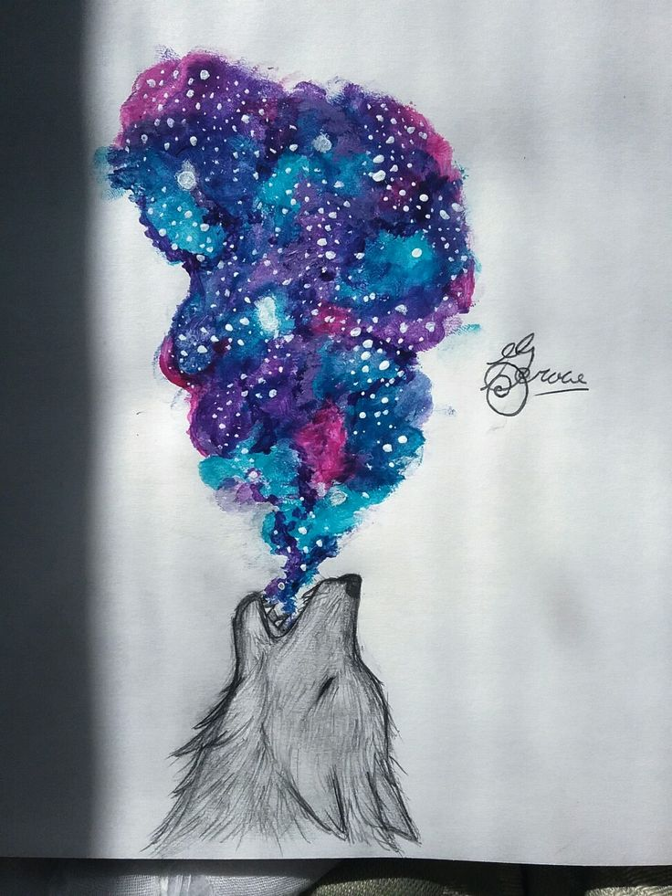 Grace. /reeeeeaaaaalllly old drawing/ OKAY! I made her with acrylics. And I am NOT copying this other artist who also made a wolf spitting out a rainbow mess. I found this cool pic of a wolf in the snow and you could see it's breath buuut I can't draw things like that, so I made a sky in it^ ^