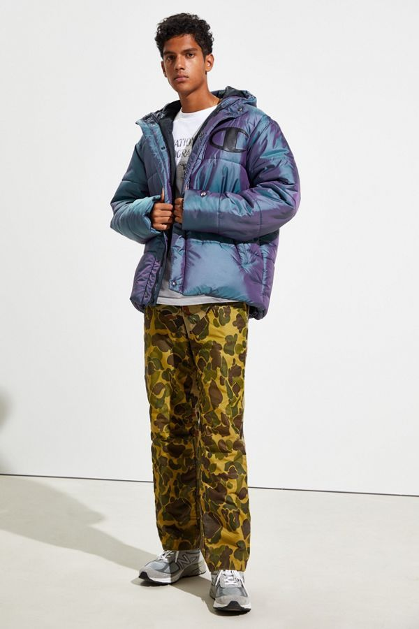 Details about  /NWT Men/'s Champion Urban Outfitters Silver Black Iridescent Puffer Jacket