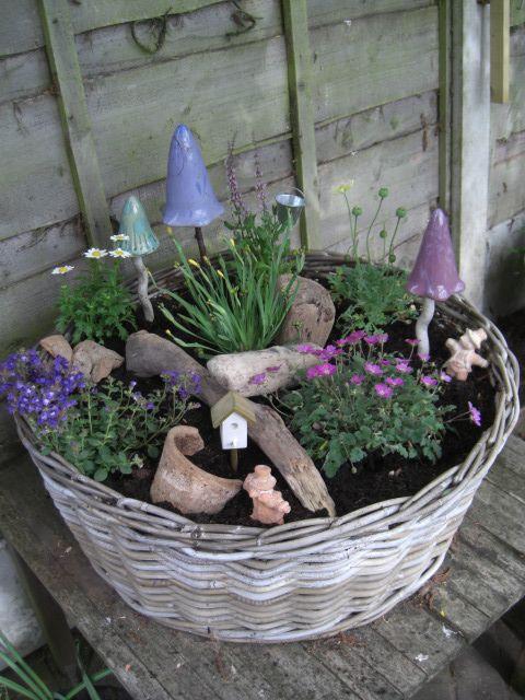 Faerie Garden in an old basket