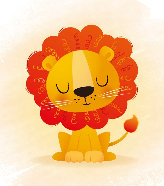 Nursery art, Lion print, kids illustration, kids room decor, childrens art, baby…