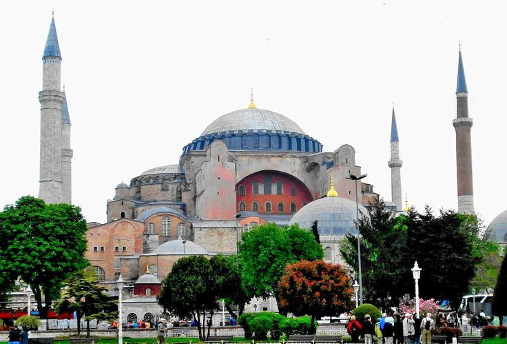 BYZANTINE ARCHITECTURE- Hagia Sophia, Istanbul, Turkey, 532. The Constantinople became the capital of the eastern Roman empire in AD 330, after the Roman empire divided into western and eastern parts. During the reign of Justinian I (c. 486-565), the emperor of Byzantine from 527 to 565, many public buildings, bridges, fortifications, aqueducts was built. His greatest commission was Hagia Sophia in Modern Istanbul.