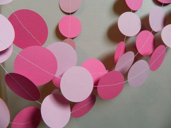 Paper Garland 10ft Shades of Pink Baby Shower Decor Princess Party Decor Photo Prop Bridal Shower Decorations Custom colors Available