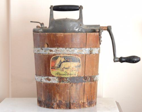 Vintage-Antique-ALEXANDERWERK-1352-Ice-Cream-Maker-Hand-Crank-Wooden-Barrel