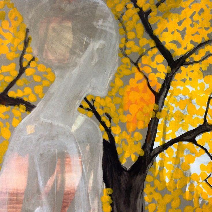 Cathrine Boman - Gule blader II, Acryl på lerret,100 x 120 cm