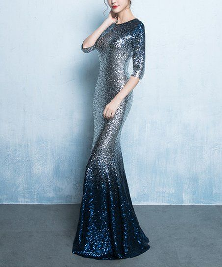 31876beff96f Vicky and Lucas Navy Sequin Half-Sleeve Fishtail Gown - Women | Zulily