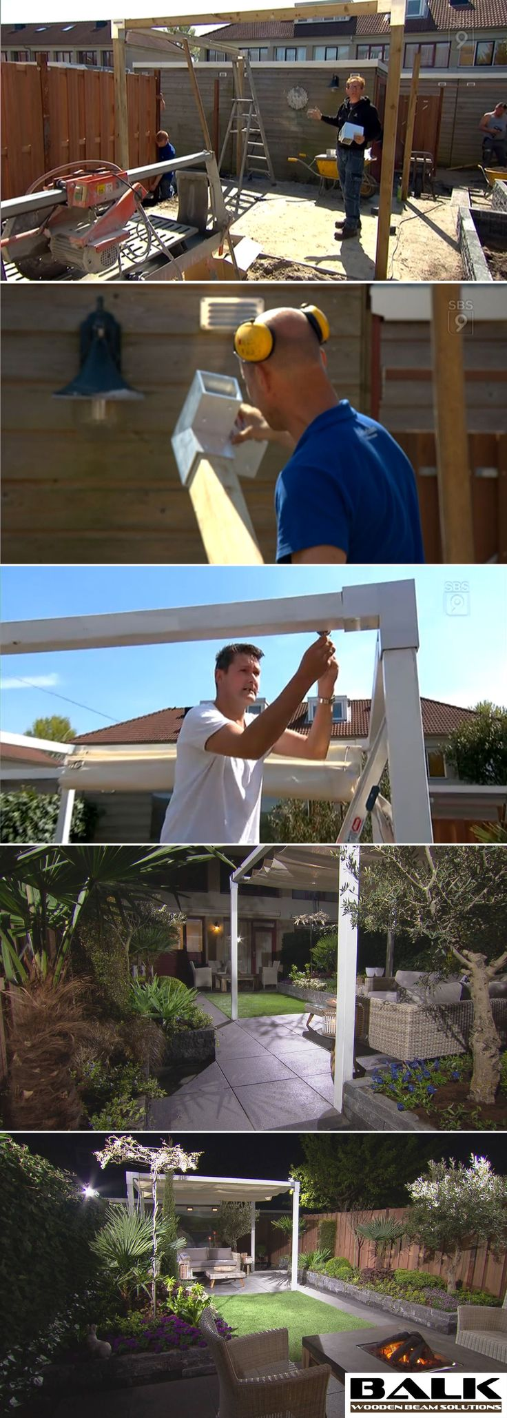 GORGEOUS pergola made with BALK connectors | couplings | joints | fittings | corner pieces for wooden beams.  This episode is in Dutch. http://www.sbs6.nl/programmas/robs-grote-tuinverbouwing/videos/zz6hrCMkkR1/robs-grote-tuinverbouwing-aflevering-36/
